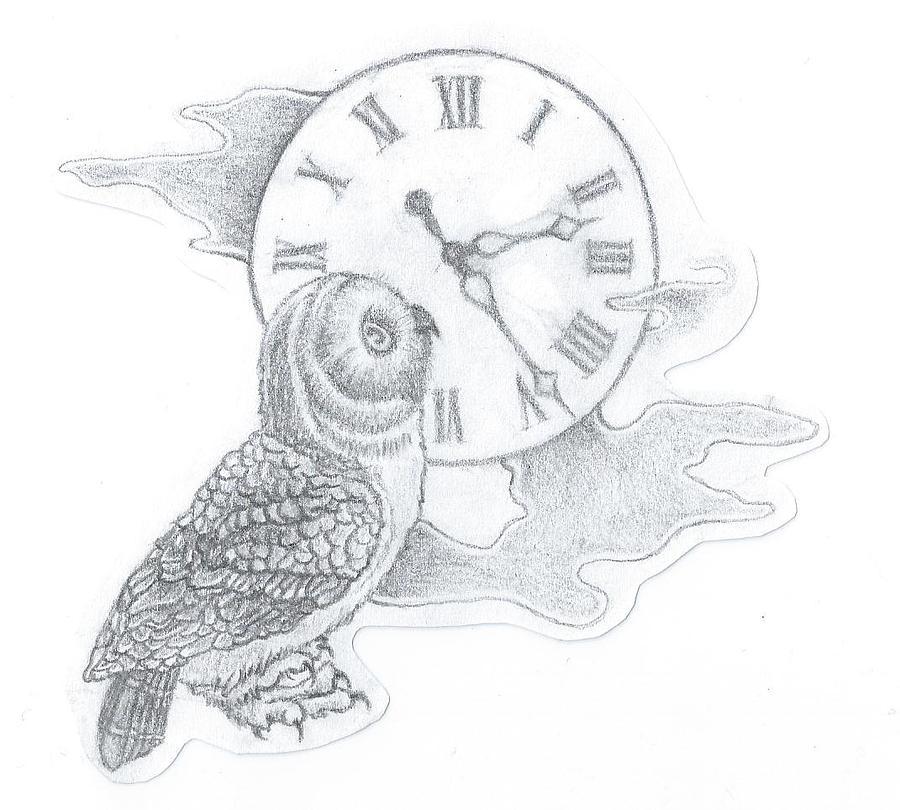 Line Drawing Clock : Owl clock drawing