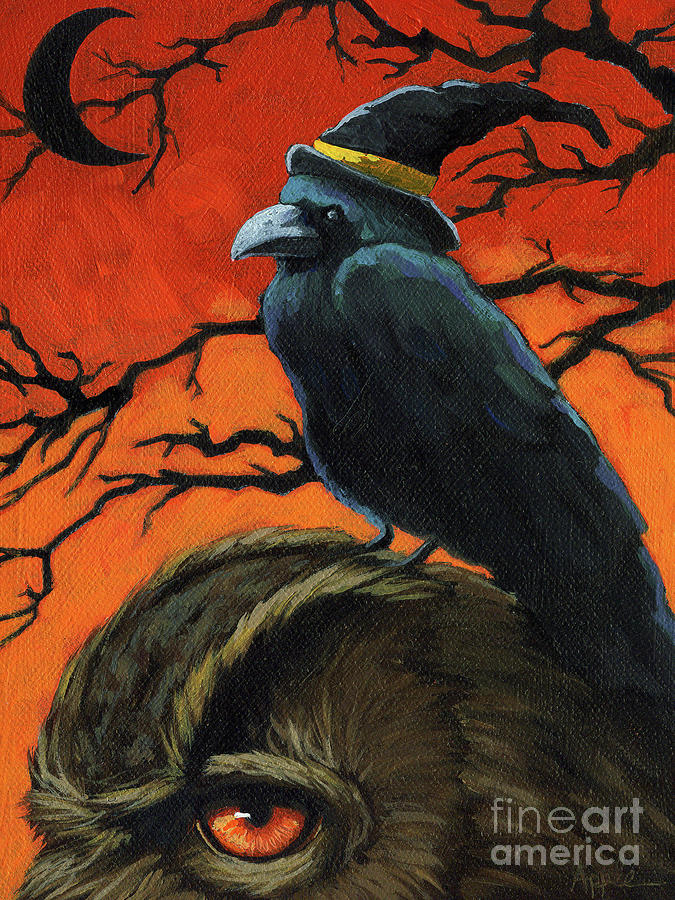 Owl And Crow Halloween Painting  - Owl And Crow Halloween Fine Art Print