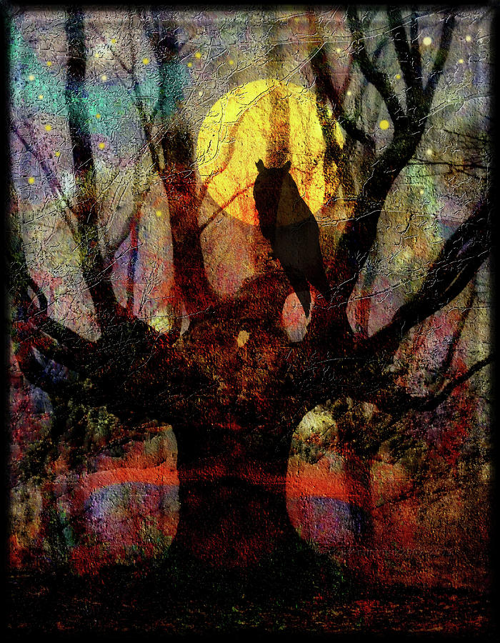 Owl And Willow Tree Digital Art  - Owl And Willow Tree Fine Art Print