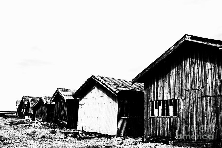 Oyster Breeding Sheds At Laramos Port On Bassin Darcachon Photograph  - Oyster Breeding Sheds At Laramos Port On Bassin Darcachon Fine Art Print