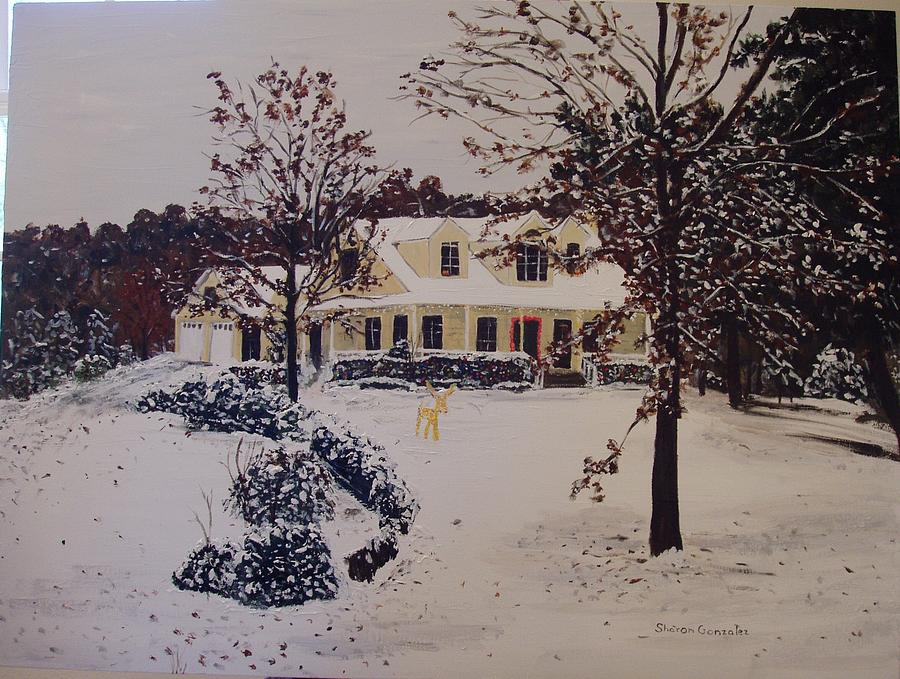 Ozark House Christmas Snow Painting  - Ozark House Christmas Snow Fine Art Print