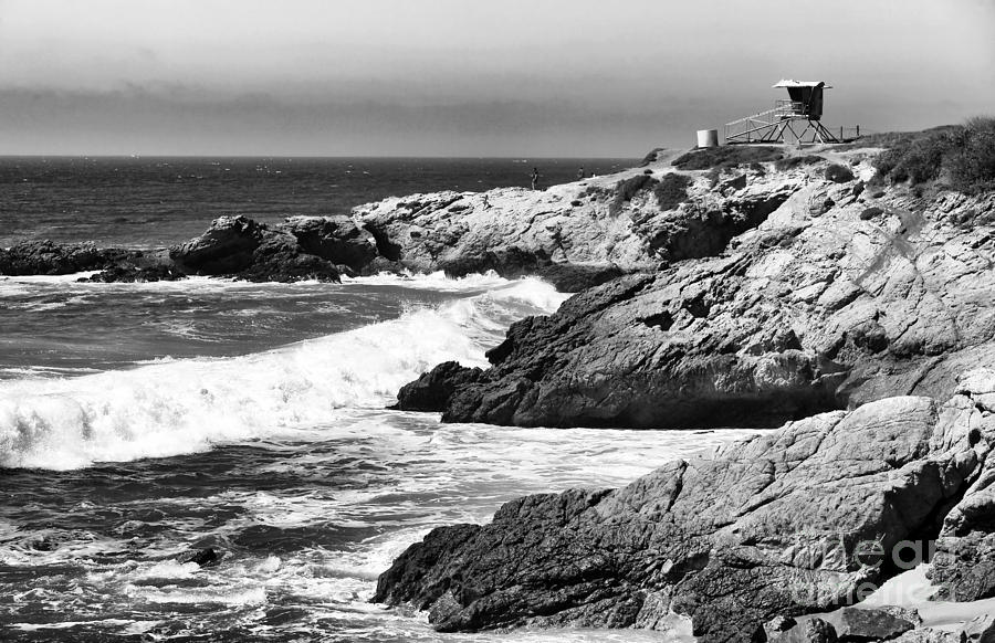 Pacific Lifeguard View In Bw Photograph