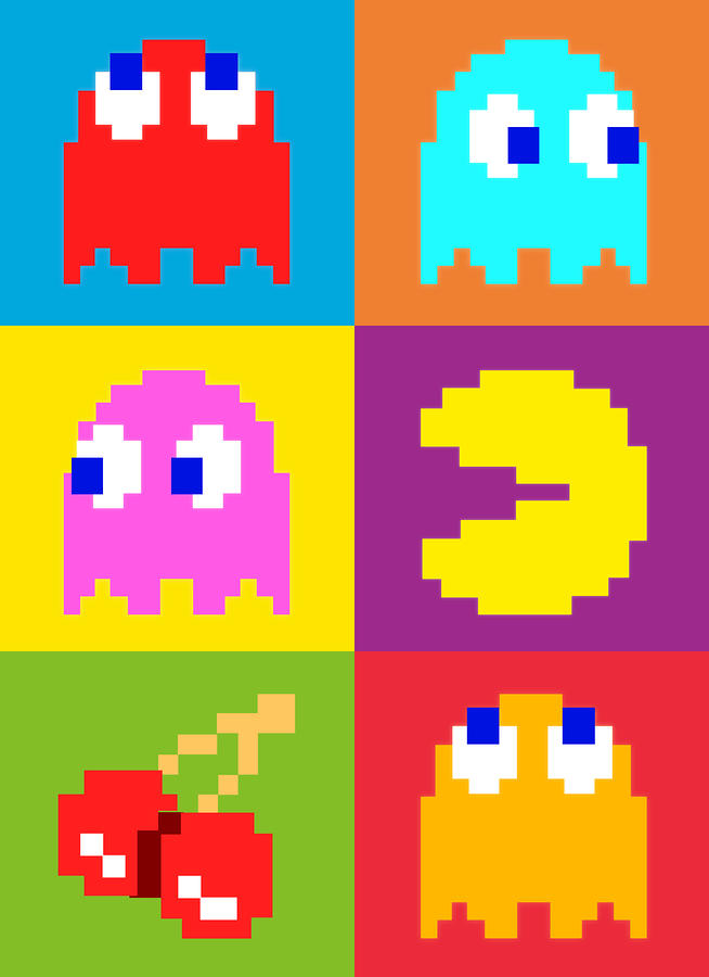 Pacman Squares Digital Art  - Pacman Squares Fine Art Print