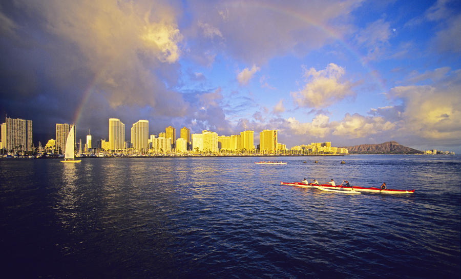 Paddling Beneath Rainbow Photograph