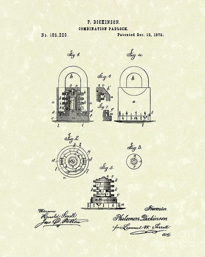 Padlock 1876 Patent Art Drawing