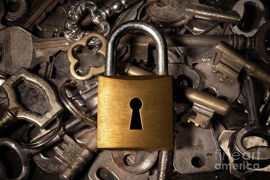 Padlock Over Keys Photograph
