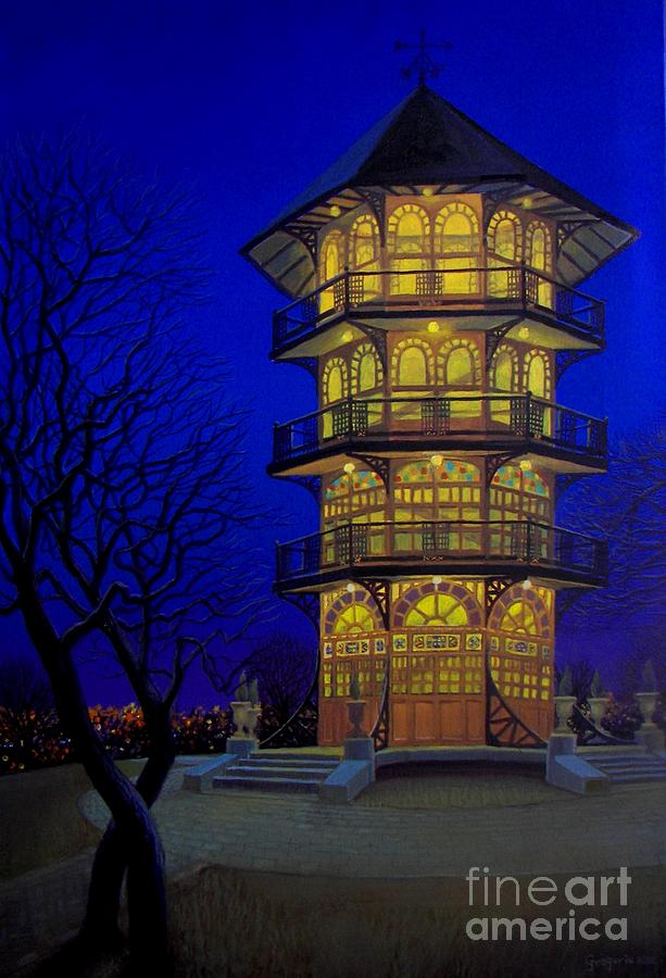 Pagoda Baltimore Patterson Park Cityscape Night Blue Nocturne Moonlight Luminescent   Painting - Pagoda  by Gene Gregorio