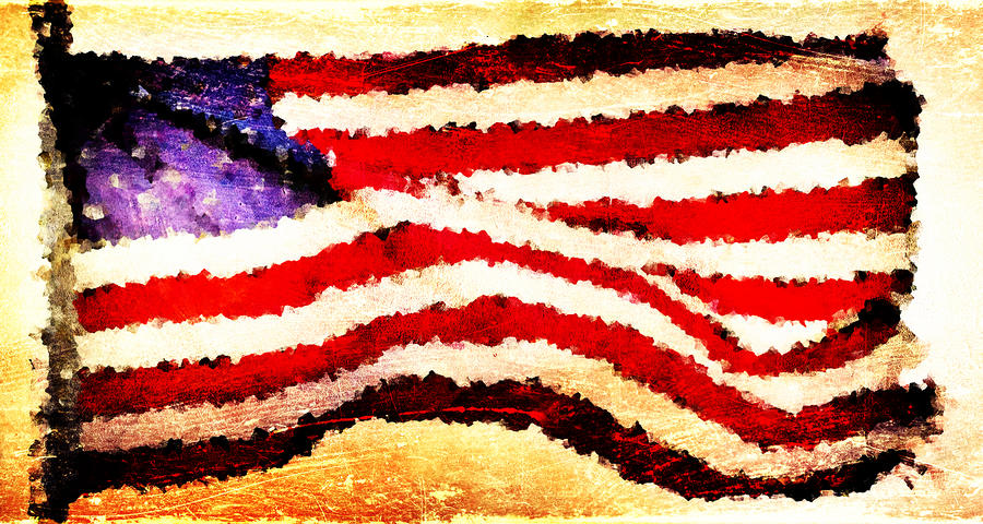 Painted American Flag Digital Art  - Painted American Flag Fine Art Print