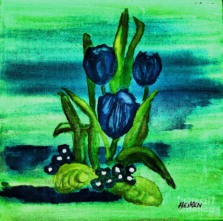 Painted Blue Tulips Digital Art