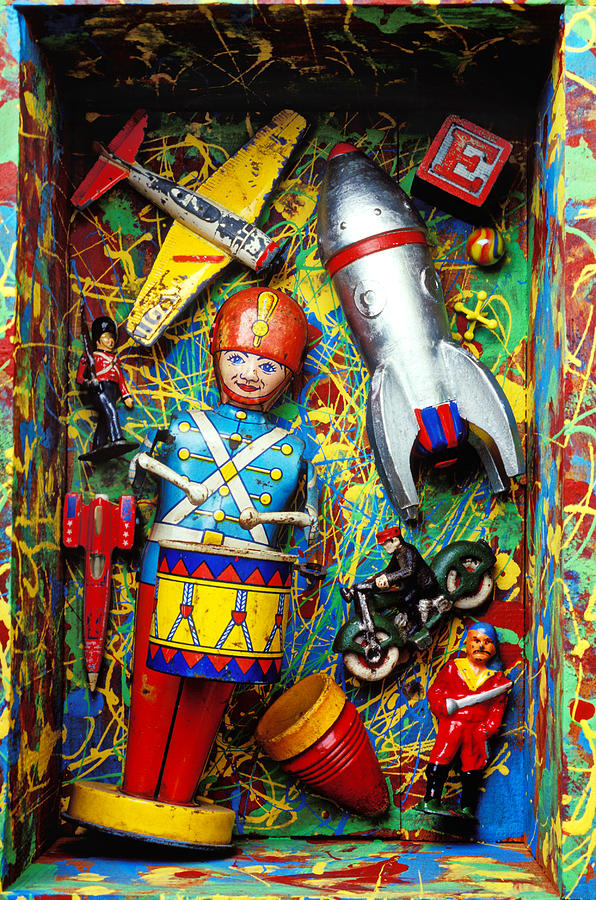 Painted Box Full Of Old Toys Photograph