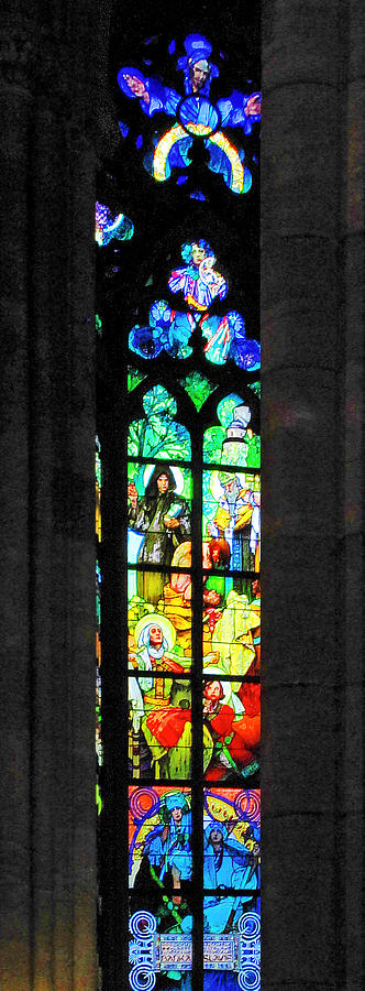 Painted Glass - Alfons Mucha  - St. Vitus Cathedral Prague Photograph