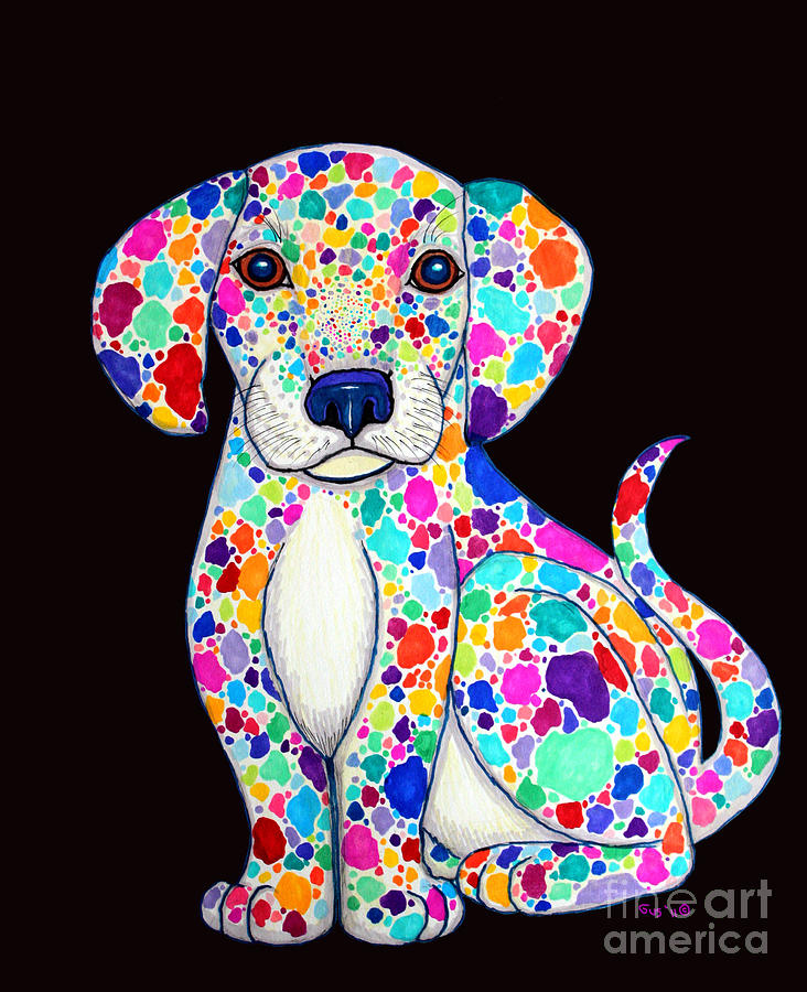 Painted Puppy 2 Drawing  - Painted Puppy 2 Fine Art Print