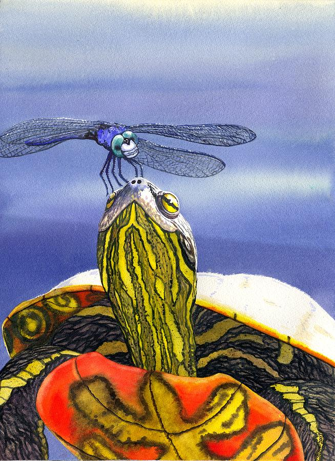 Painted Turtle And Dragonfly Painting
