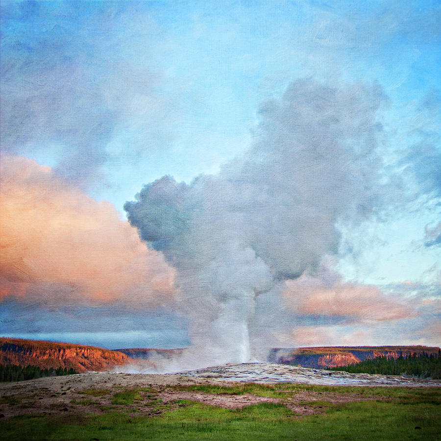 Painterly Old Faithful, Yellowstone National Park Photograph