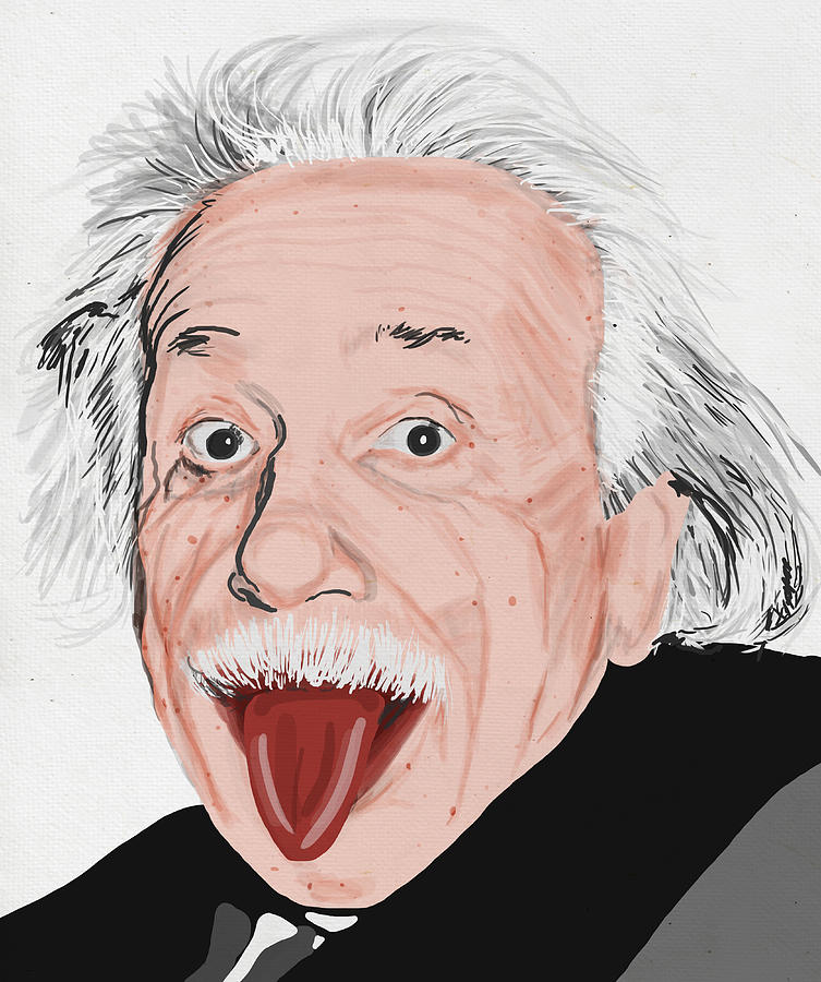 Painting Of Albert Einstein Painting  - Painting Of Albert Einstein Fine Art Print