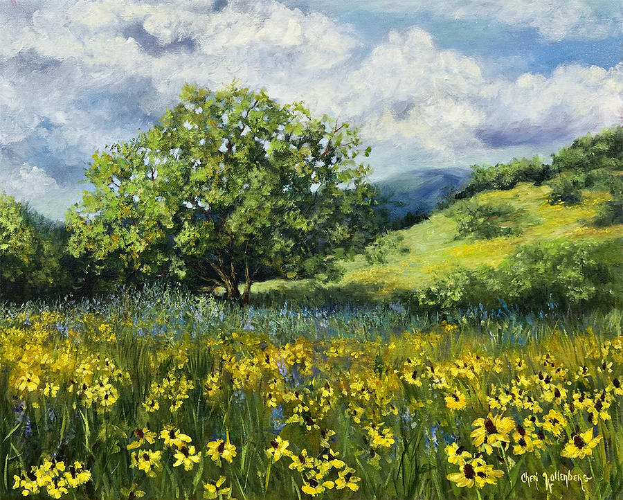 Painting Of Black-eyed Susans In Oklahoma Landscape by ...