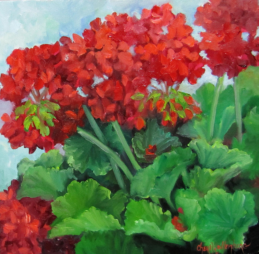 Painting Of Red Geraniums Painting