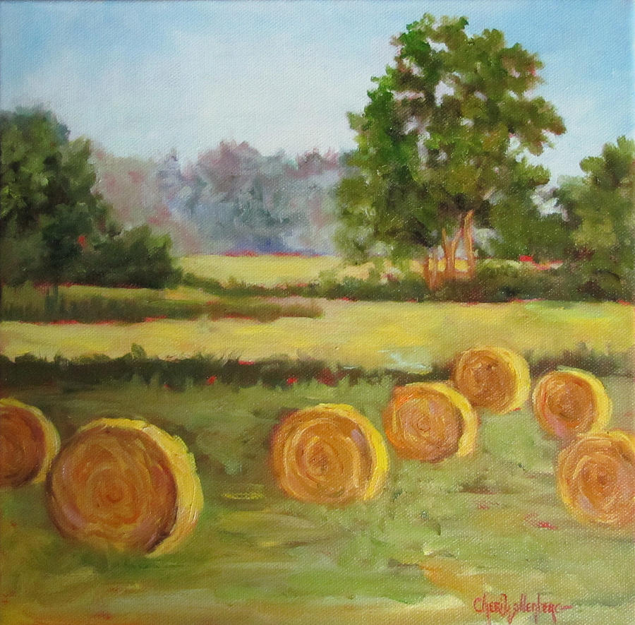 painting of round hay bales painting by cheri wollenberg