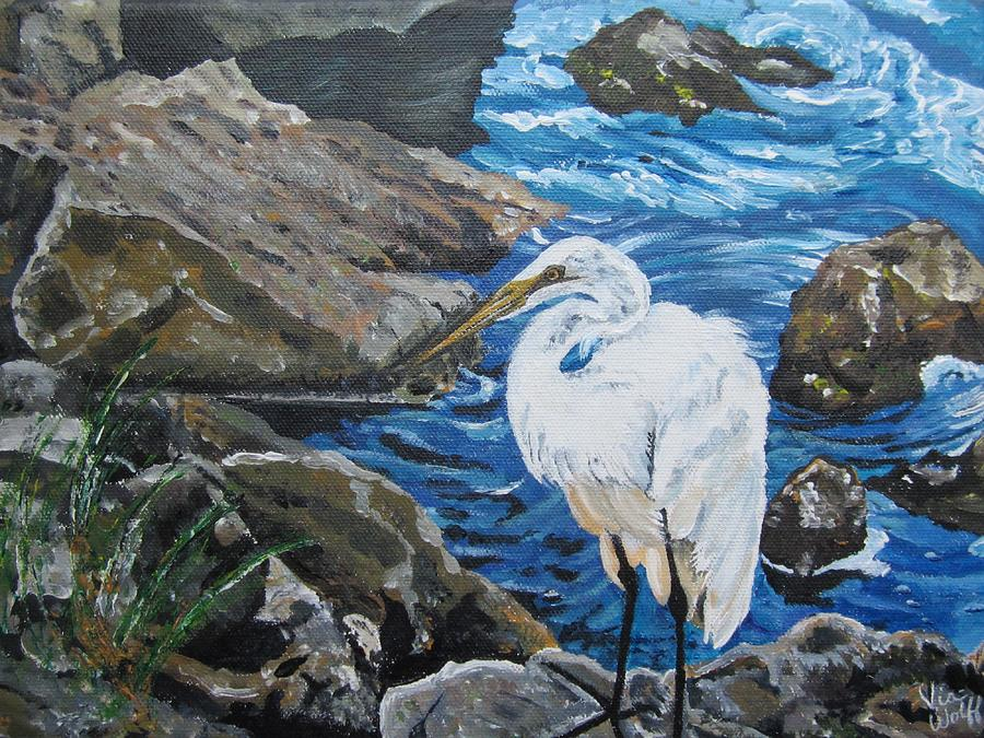 Painting  Sharons Heron On The Rocks Painting