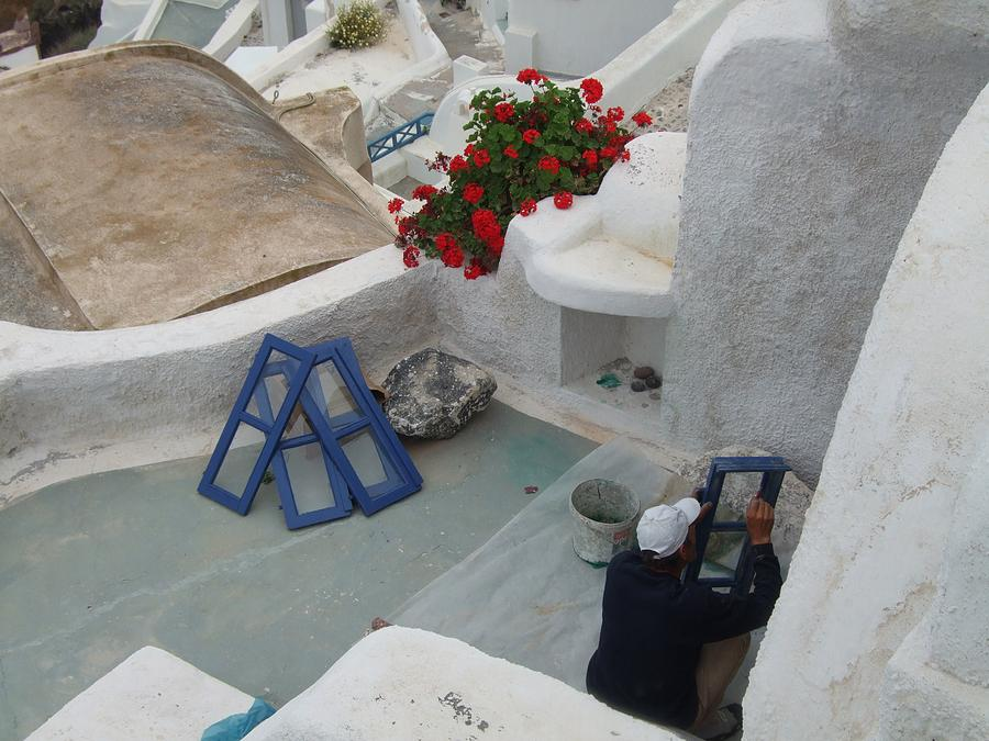 Painting Shutters In Santorini Greece Photograph