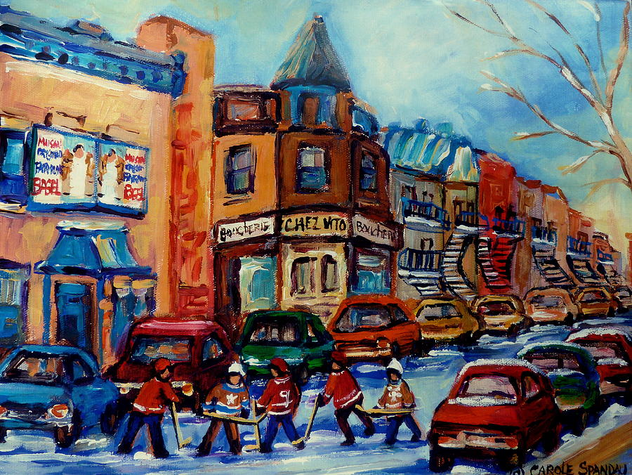 Paintings Of Montreal Hockey On Fairmount Street Painting  - Paintings Of Montreal Hockey On Fairmount Street Fine Art Print