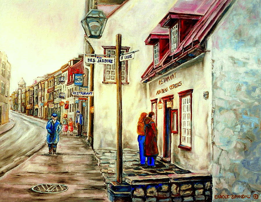 Paintings Of Quebec Landmarks Aux Anciens Canadiens Restaurant Rainy Morning October City Scene  Painting