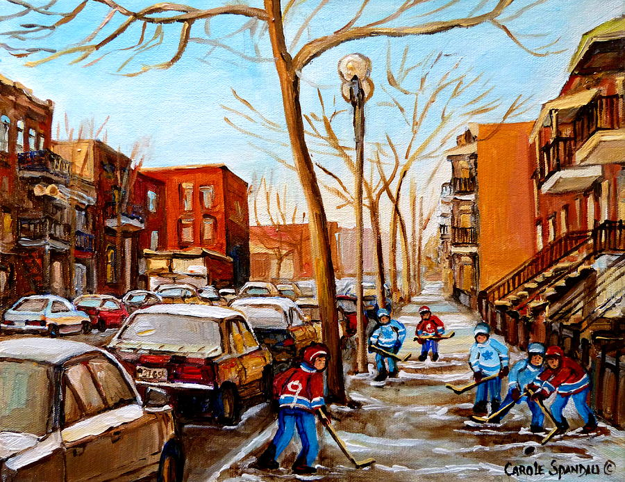 Paintings Of Verdun Streets In Winter Hockey Game Near Row Houses Montreal City Scenes Painting  - Paintings Of Verdun Streets In Winter Hockey Game Near Row Houses Montreal City Scenes Fine Art Print