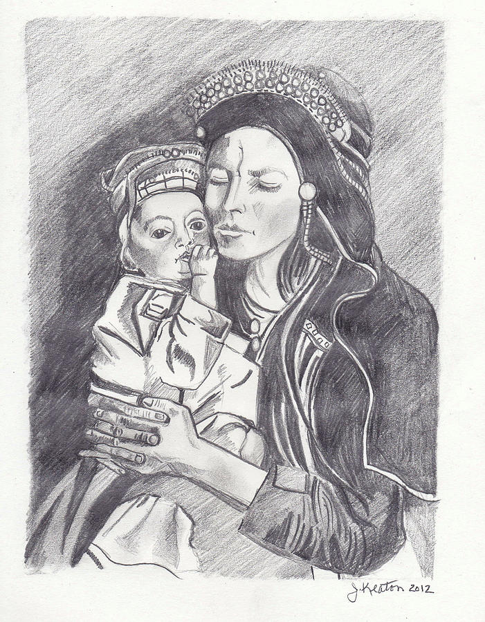 Pakistani Mother And Child Drawing  - Pakistani Mother And Child Fine Art Print