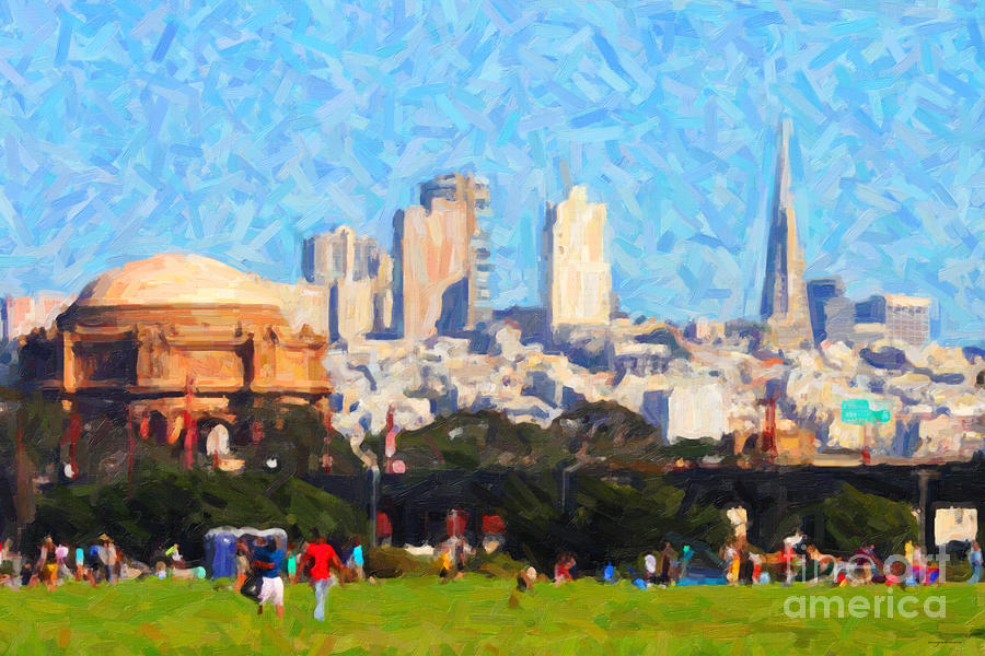 Palace Of Fine Arts . Transamerica Tower . San Francisco Skyline Viewed From Crissy Fields Photograph  - Palace Of Fine Arts . Transamerica Tower . San Francisco Skyline Viewed From Crissy Fields Fine Art Print