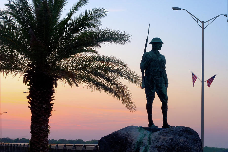 Palatka Memorial Bridge Doughboy At Sunset Photograph