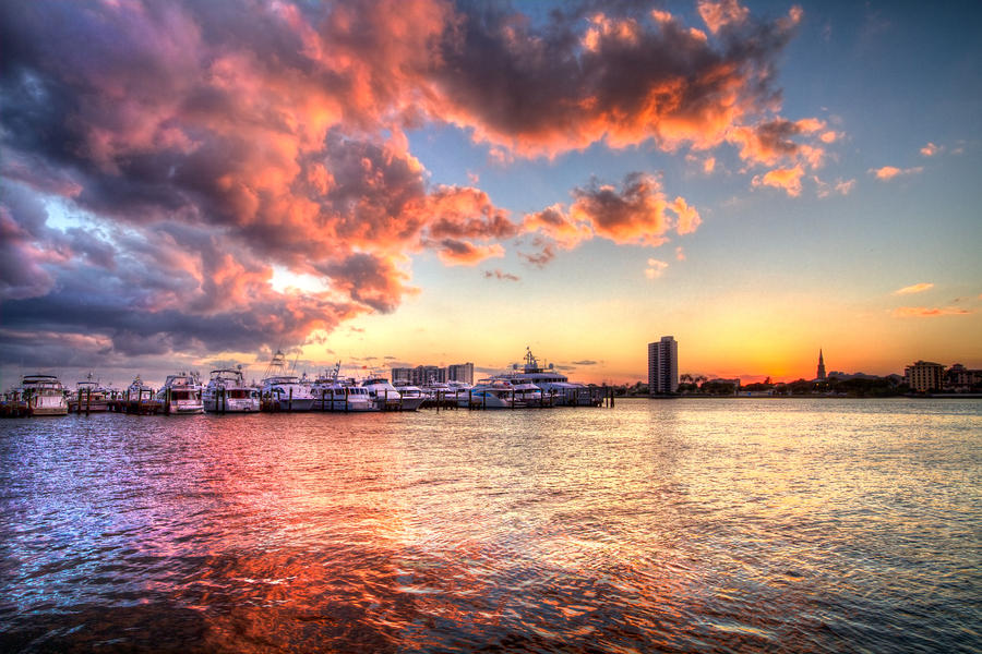 Palm Beach Harbor With West Palm Beach Skyline Photograph  - Palm Beach Harbor With West Palm Beach Skyline Fine Art Print