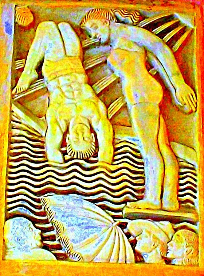 Palm Springs Swimmer Mural Photograph