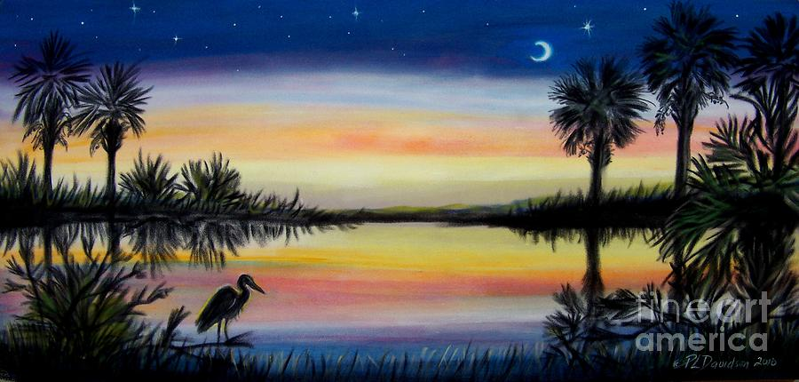 Palmetto Tree And Moon Low Country Sunset Painting  - Palmetto Tree And Moon Low Country Sunset Fine Art Print
