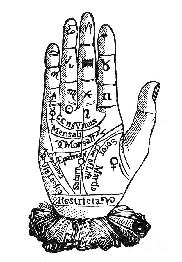 palmistry chart  1885 by granger