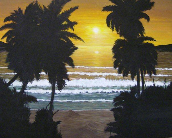 Palms In Silouhette Painting