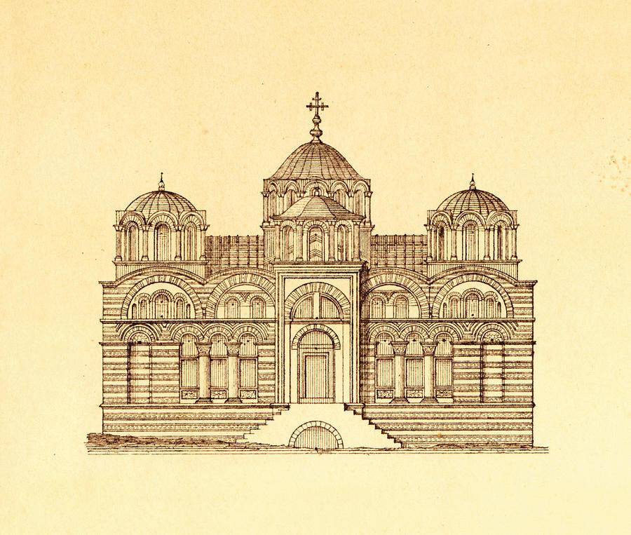 Pammakaristos Byzantine Church In Constantinople  Drawing