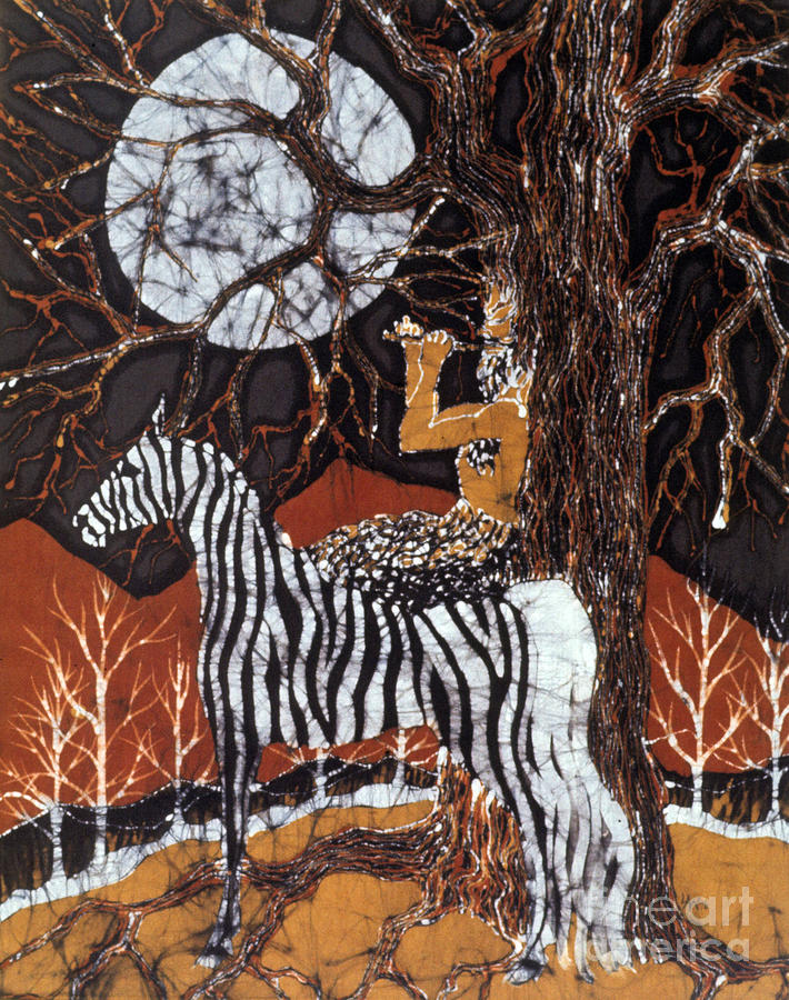 Pan Calls The Moon From Zebra Tapestry - Textile  - Pan Calls The Moon From Zebra Fine Art Print