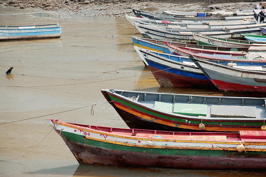 Panama, Panama City, Fishing Boats On Coastline At Low Tide Photograph