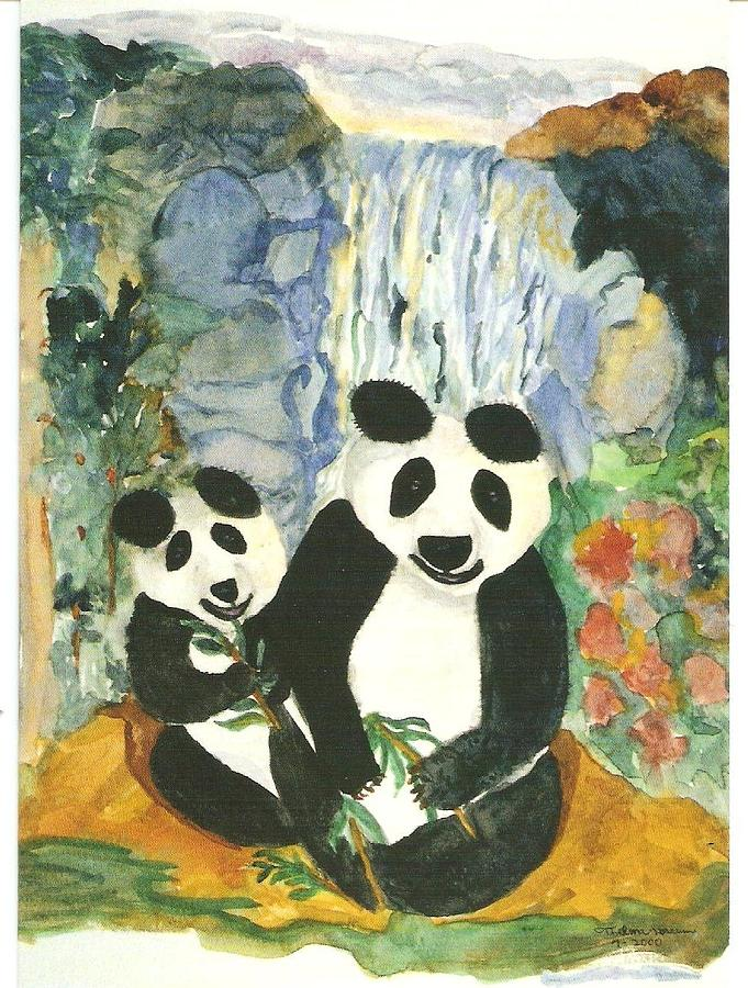 Panda Bears At The Waterfalls Painting