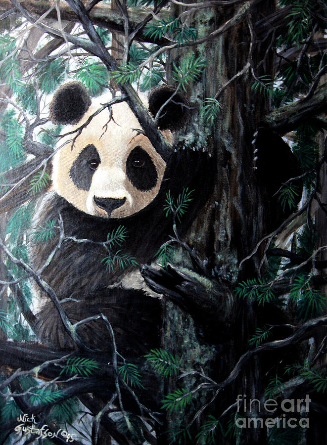 Panda In Tree Painting  - Panda In Tree Fine Art Print