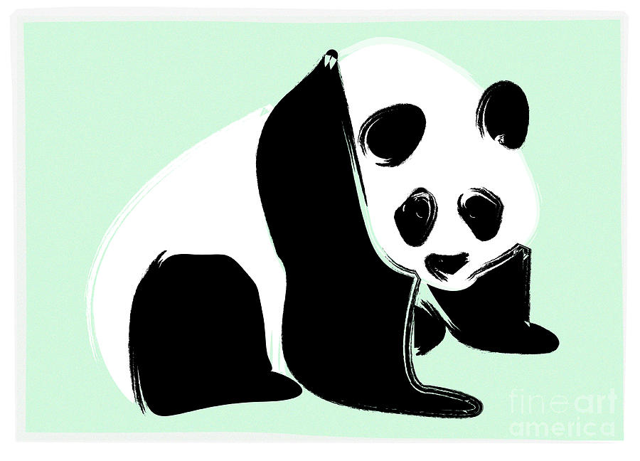 Green Digital Art - Panda On Green by Michelle Bergersen