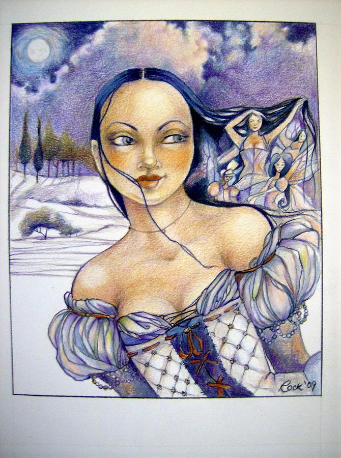 Moon Fairies Blue Snow Woman  Drawing - Pandora by Jackie Rock