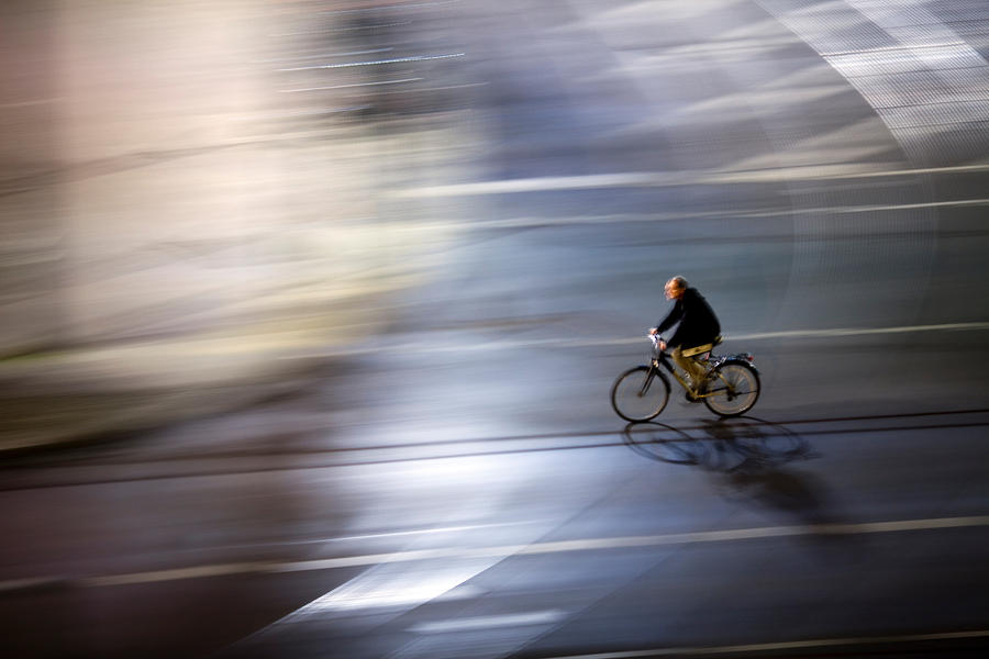 Movie Poster sample movie posters : Panning Shot Of A Cyclist By Night by Felipe Rodriguez