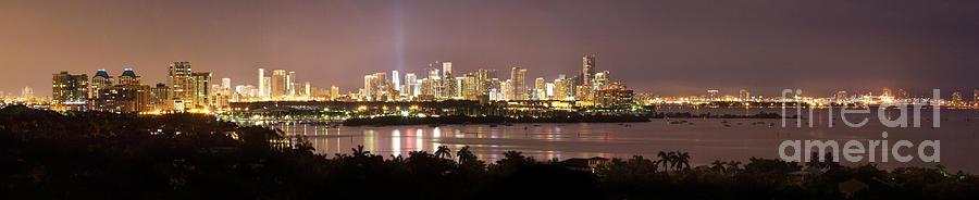 Panorama Of Miami At Night Photograph
