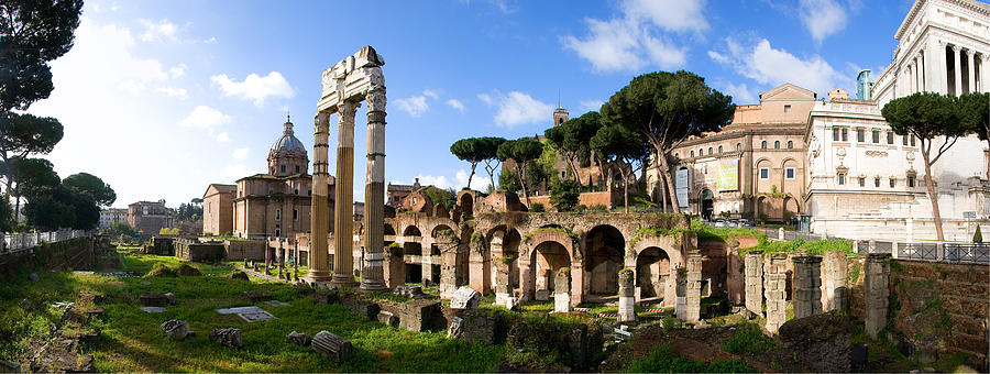 Panorama Of The Roman Forum Photograph  - Panorama Of The Roman Forum Fine Art Print