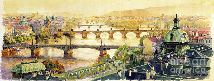 Panorama Prague Briges Painting  - Panorama Prague Briges Fine Art Print