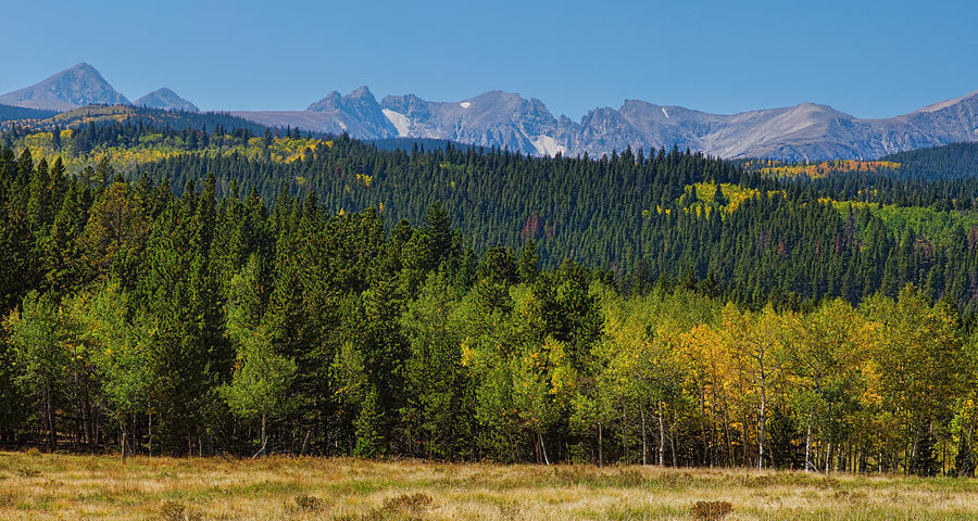 Panorama Scenic Autumn View Of The Colorado Indian Peaks Photograph  - Panorama Scenic Autumn View Of The Colorado Indian Peaks Fine Art Print