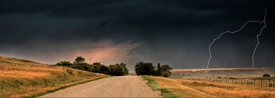 Panoramic Lightning Storm In The Prairie Digital Art  - Panoramic Lightning Storm In The Prairie Fine Art Print