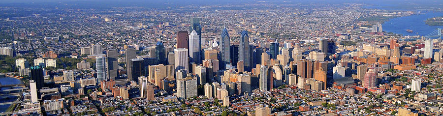 Panoramic Philly Skyline Aerial Photograph Photograph