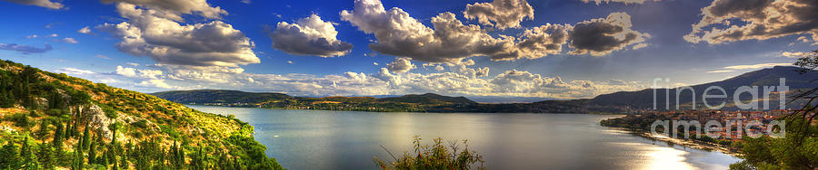 Panoramic View Over Kastoria Greece Pyrography